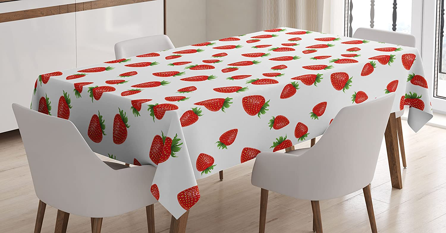 Kitchen Tablecloth by Ambesonne, Cartoon Style Strawberries on White Background Fresh Sweet Fruit Pattern Image, Dining Room Kitchen Rectangular Table Cover, 60W X 90L Inches, Red and White