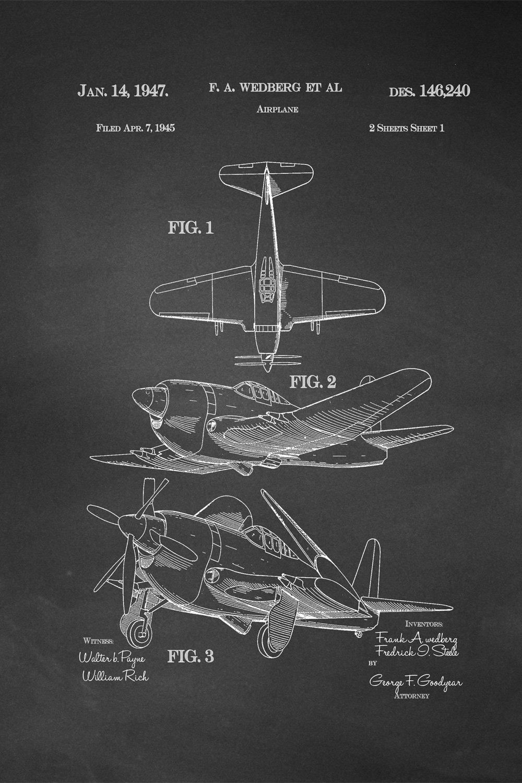 JP London Heavyweight Prepasted Dual Propeller War Plane Retro Dog Fight Removable Vintage Chalkboard Patent Art at 36 in by 24 in SPMURJSCLT43