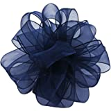 Offray Wired Edge Encore Sheer Craft Ribbon, 1-1/2-Inch Wide by 25-Yard Spool, Navy