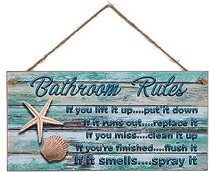 Yankario Beach Bathroom Wall Decor - 12 by 6 inch Seashells Nautical Bathroom Rules Decor Sign - Funny Farmhouse Rustic Ocean Bathroom Decor Wall Art If It Smells Spray It