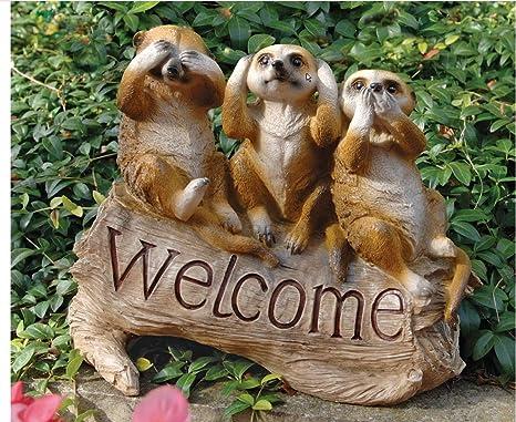 Classic Cute Meerkat Welcome Home Garden Statue Exotic Hear No Evil See No  Evil Speak No