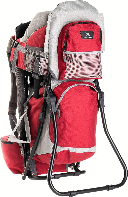 DROMADER Mochila Portabebé para Hacer Turismo Koala | Peso del Bebé hasta 22 kg | Asiento cómodo ajustable | Sistema de transporte 3D Opti-fit | Bolsillos Prácticos | Parasol | Rojo & Gris