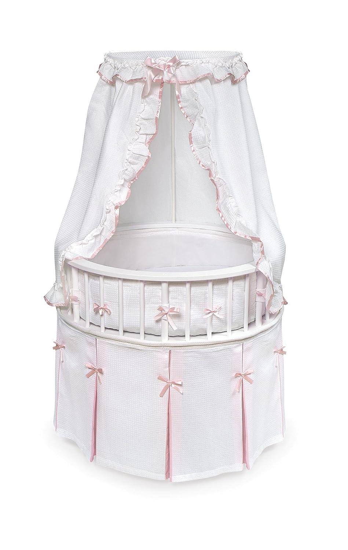 B000FR9BYO Elegance Round Wooden Baby Bassinet with Bedding, Canopy, and Storage 818CZfgRXdL