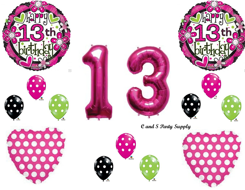 Amazon.com: GIRL\'S 13th Teenager Happy Birthday Party Balloons ...