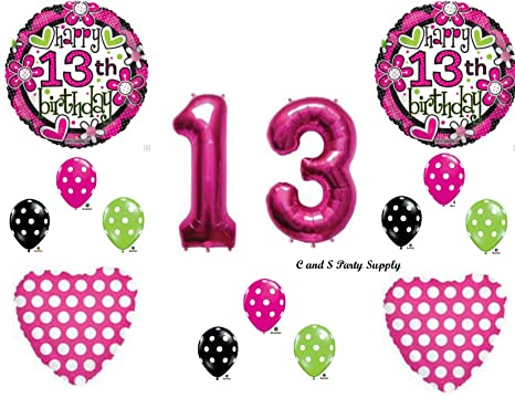 GIRLS 13th Teenager Happy Birthday Party Balloons Decorations Supplies