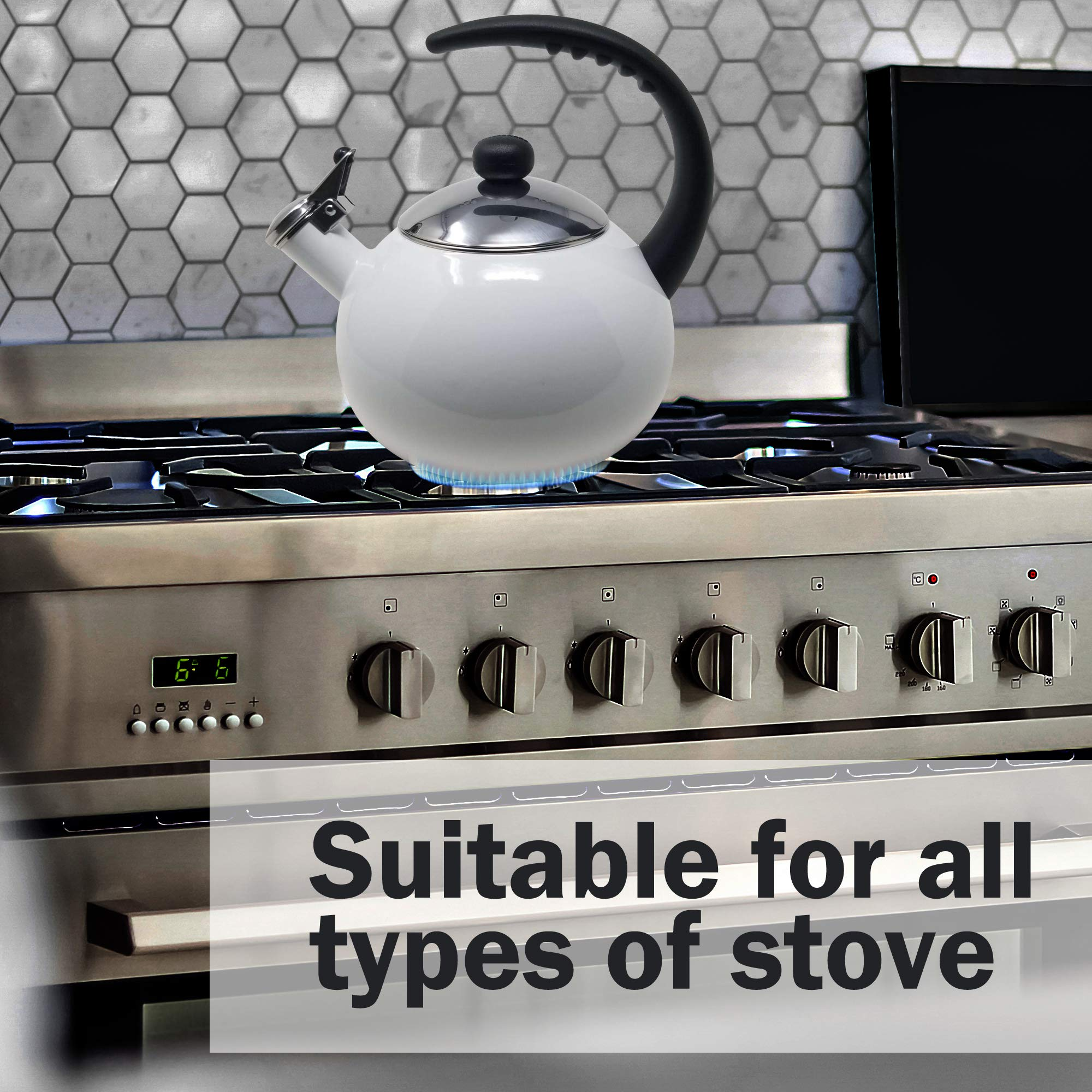 Farberware Luna White Porcelain Enameled Food Grade 18/8 Stainless Steel Soft Whistle Anti- Hot and Anti-Rust TEA KETTLE with Soft Grip Handle Flip Up Spout Heavy Gauge STOVETOP POT 2 QT. by Alfay (Image #3)