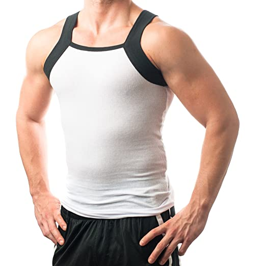 599e4e1678733c Men s G-unit Style Tank Tops Square Cut Muscle Ribbed Underwear Shirts (S
