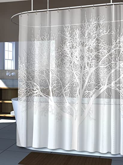 Amazon.com: Pearl White Home Tree Vinyl Shower Curtain Modern ...