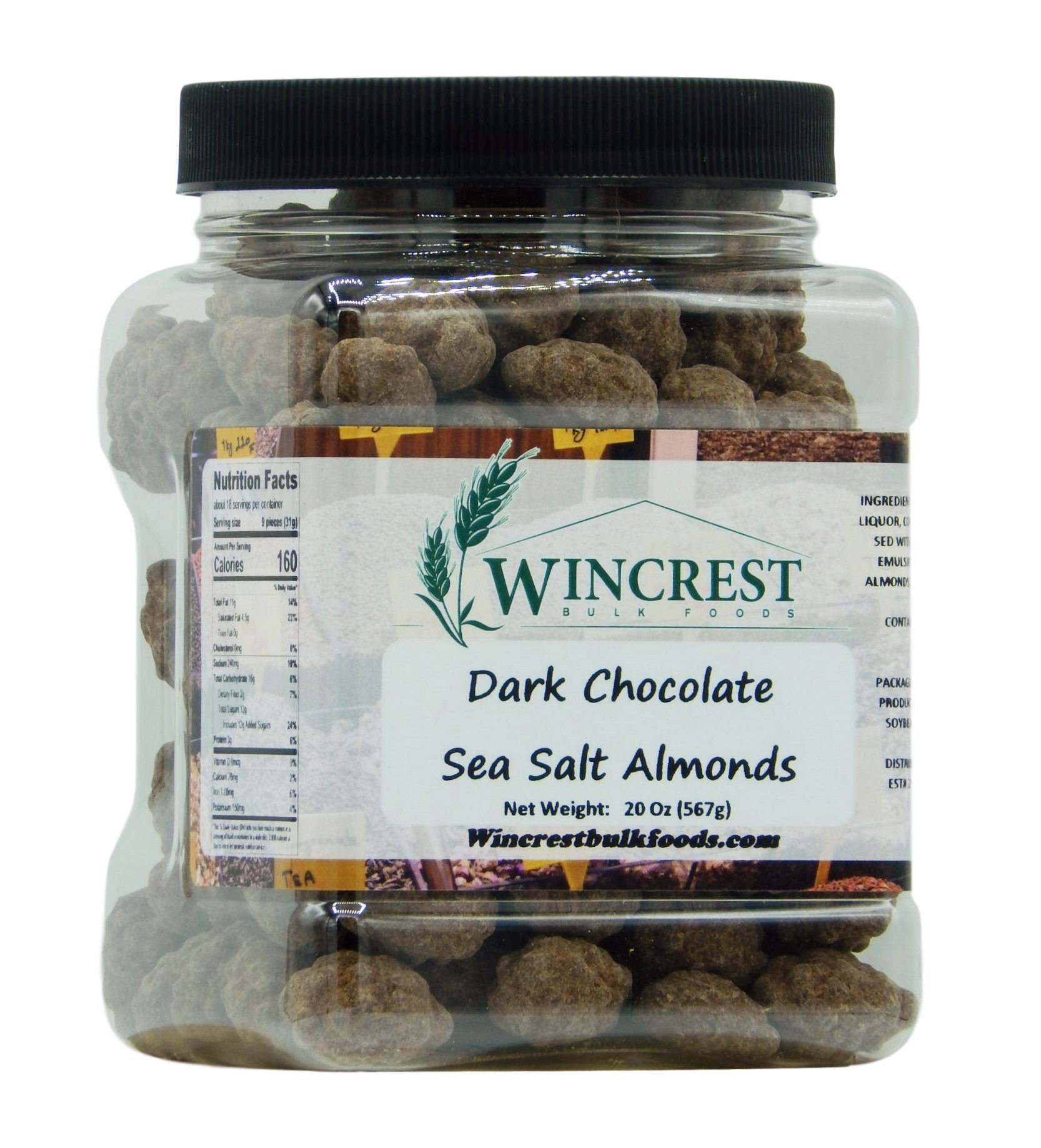 Dark Chocolate Turbinado & Sea Salt Almonds - 1.25 Lb Tub