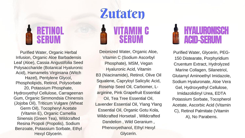Eldivine Beauty Set De Suero   RETINOL 2.5%, VITAMINA C 20% y ÁCIDO HIALURÓNICO (1 oz cada uno)   Mejor Tratamiento Para las Arrugas, Líneas Finas, Manchas, ...