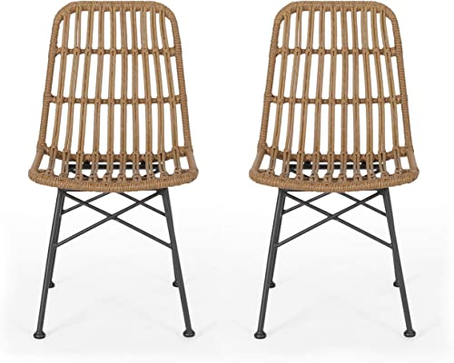 Great Deal Furniture Yilia Outdoor Wicker Dining Chair Set of 2 , Light Brown and Black