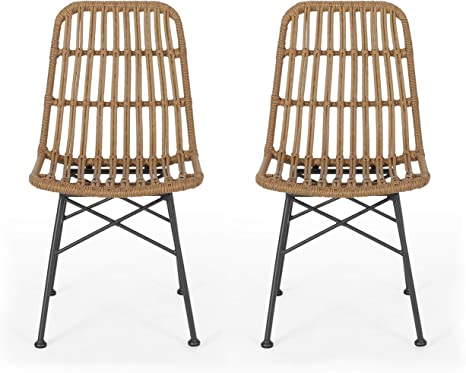 Amazon Com Silverdew Indoor Wicker Dining Chairs Set Of 2 Light Brown And Black Chairs