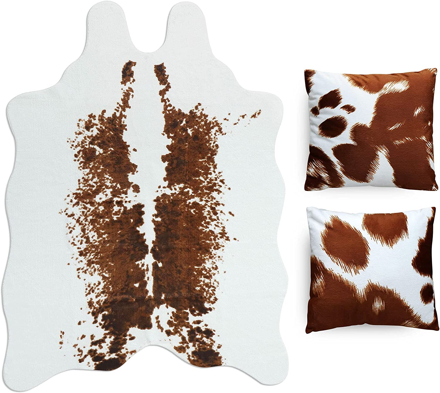CONBEN Cow Print Rug - 4.6x6.6 Ft - 2 Cushion Covers Included - Faux Cowhide Decor, Polyester Material - Non-Slip Rubber - Farmhouse, Western Floor Rugs for Living Room, Bedroom, Office - White