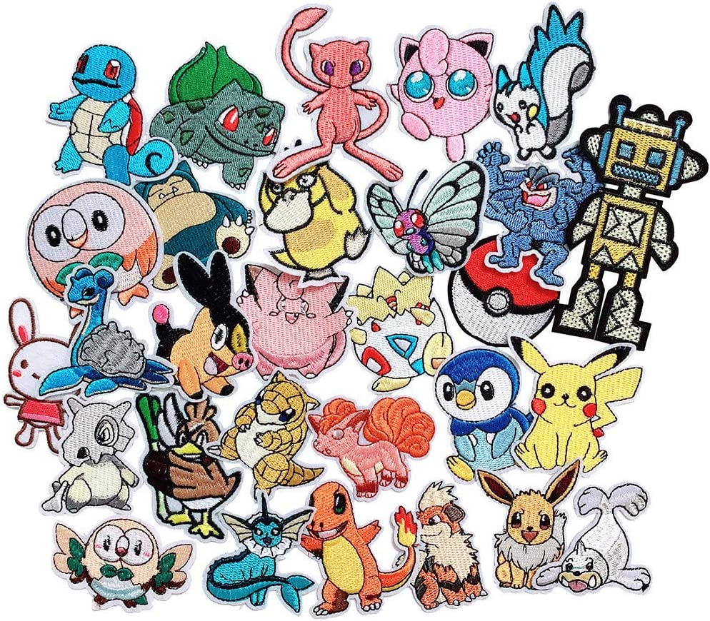 Anrher 30pcs Cartoon Patches Mixed Iron On Embroidered Applique Sew on Patch DIY Clothing Craft Decoration Accessories