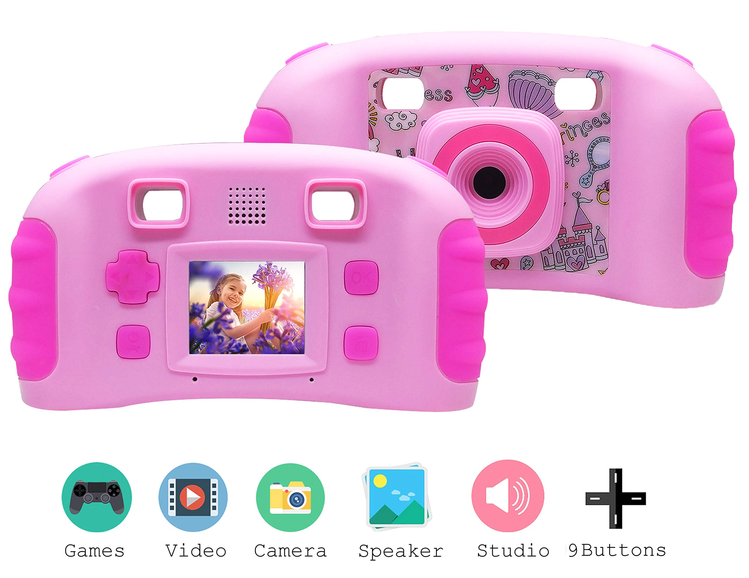 Vetté Digital Camera for Kids with 16GB MicroSD Card - Multifunctional Kids Camera - 2X Zoom, 720 HD Video Quality, 1.8 TFT LCD Screen,Games, Frames, Photo Editing and Voice Recorder Camera (Pink) by Vetté (Image #2)