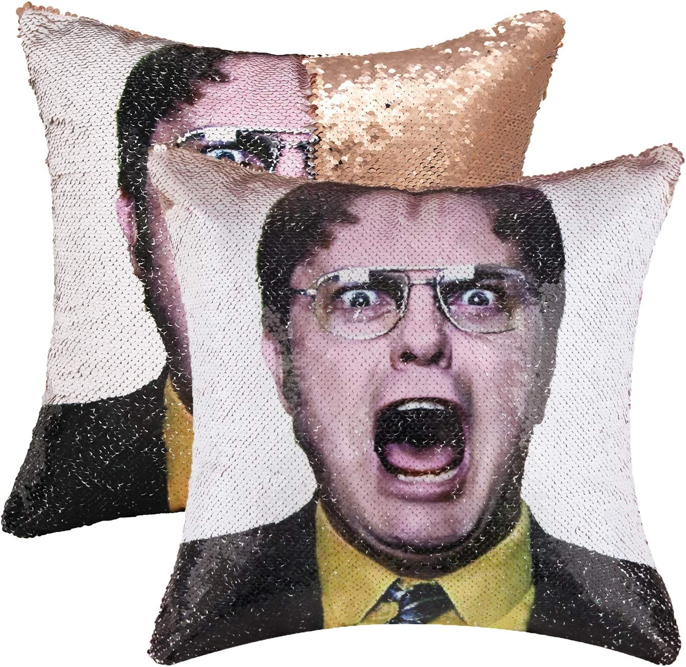 cygnus Funny Reversible Sequin Pillows Cover The Office Dwight Schrute Magic Flip Decorative Change Color Pillowcase for Couch Sofa Bed, 16¡°x16¡±,Champagne