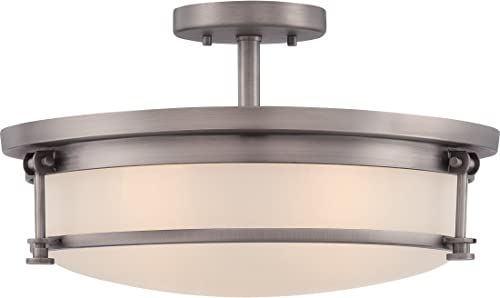 Quoizel SLR1716AN Sailor Nautical Semi Flush Mount Ceiling Lighting, 4-Light, 400 Watts, Antique Nickel 10 H x 16 W