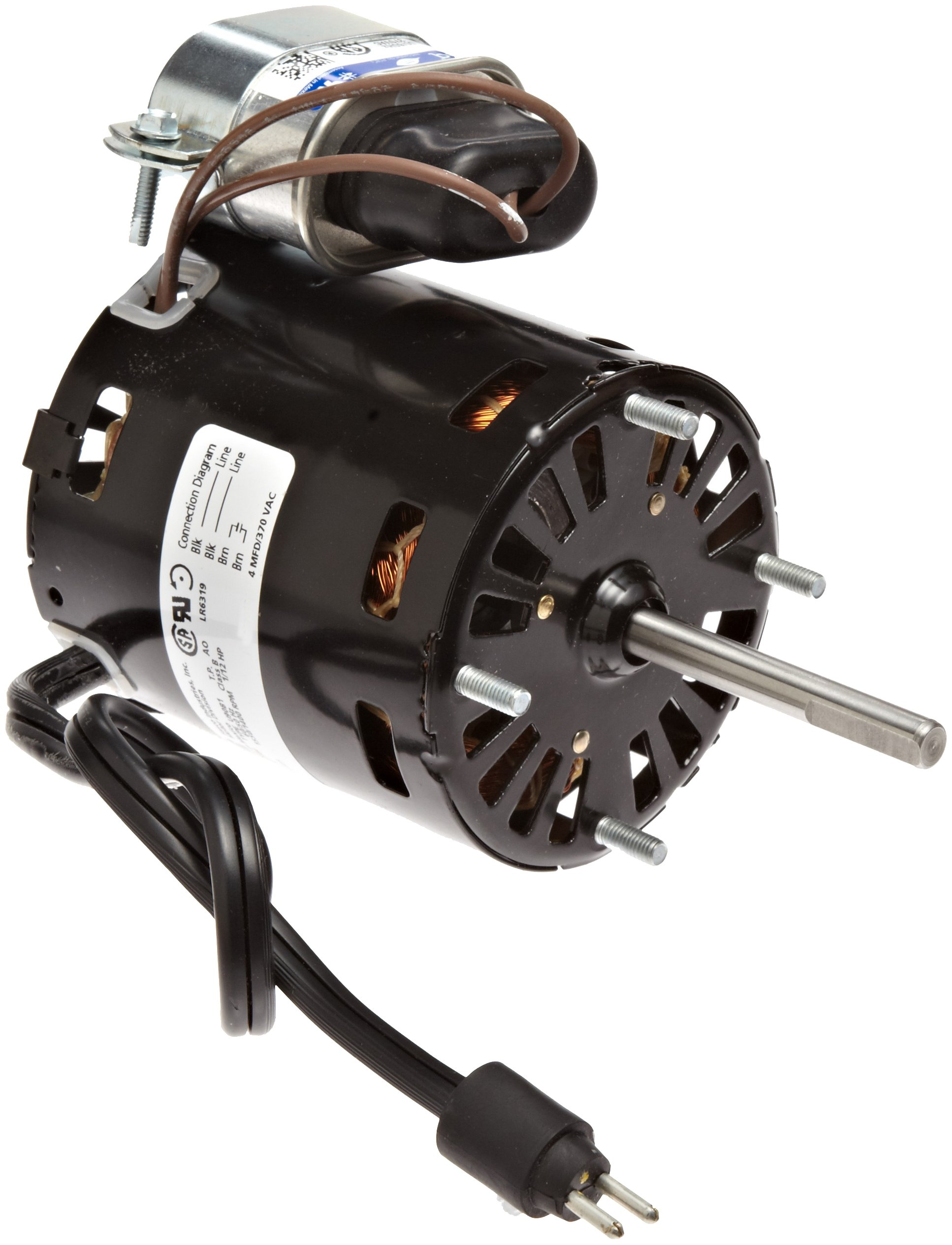 Fasco D1125 3.3'' Frame Open Ventilated Permanent Split Capacitor Evaporator Coil and Refrigeration Fan Motor withSleeve Bearing, 1/12HP, 1550rpm, 208-230V, 60Hz, 0.5 amps