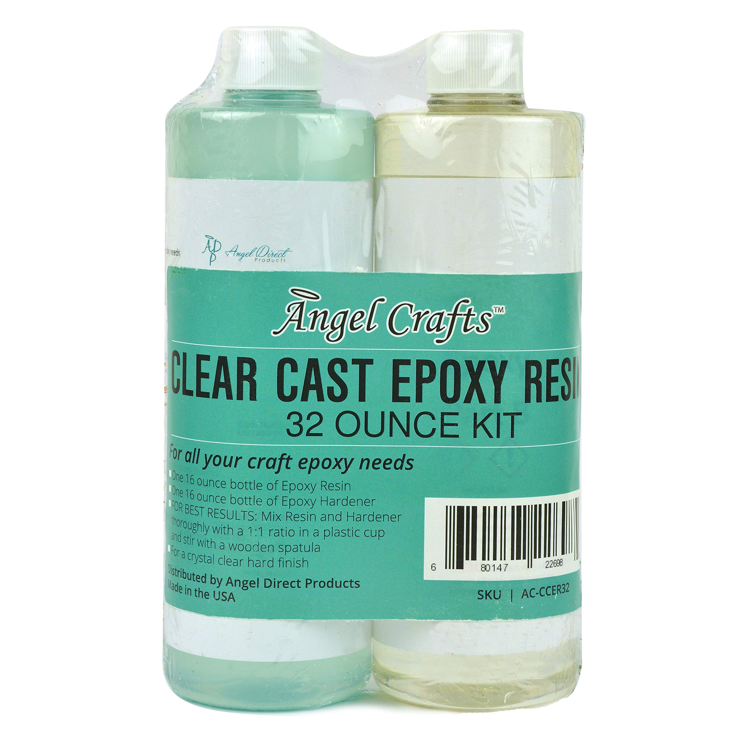Angel Crafts Clear Casting Epoxy Resin and Hardener Mix Kit: Clear Resin for Craft Art, Jewelry, Wood Table Tops, Molds, Dyes, Color Pigments, Buttons, UV Protection Cast Coating Formula, 32 Ounces