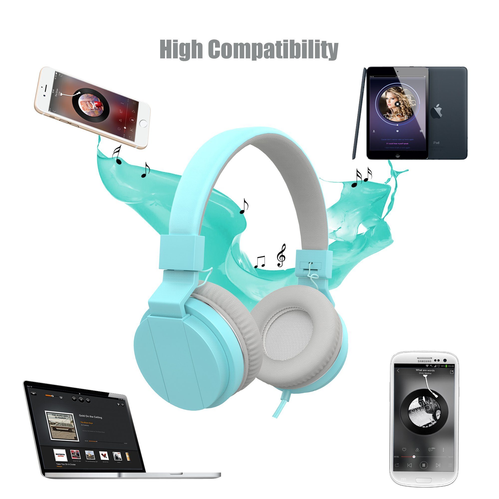 Wired Portable Headsets, Foldable Headphones with Microphone and Volume Control On Ear Headphones for iPhone iPad Android Smartphones Laptop Tablet for Kids or Adults by Vomach (Image #6)