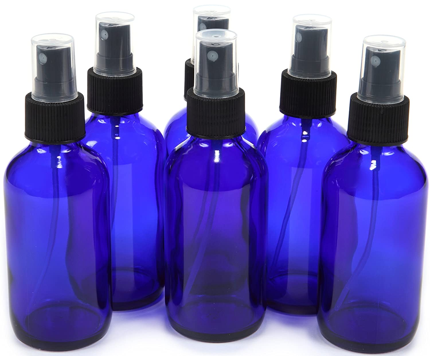 6 New, High Quality, 4 oz Cobalt Blue Glass Bottles, with Black Fine Mist Sprayer by Vivaplex PSC Products VCM4-6