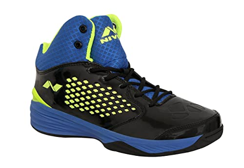 Blue Faux Leather Basketball Shoes
