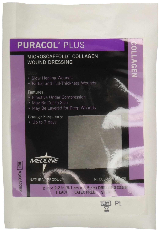 Medline MSC8622EPZ Puracol Plus Collagen Dressings, 2'' x 2'' (Pack of 10)
