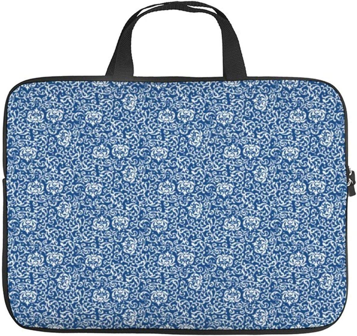 15 Inch Laptop Bag with Handle Blue and White Tudor Gardens Floral Laptop Briefcase for Office School Men & Women Teens