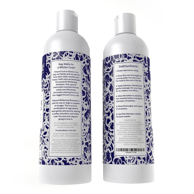 Petpost | Shampoo Blanqueador para Perros – El Mejor Tratamiento de Aclaramiento para Perros con Pelaje Blanco – Calmante Fragancia de Sandía – Para ...