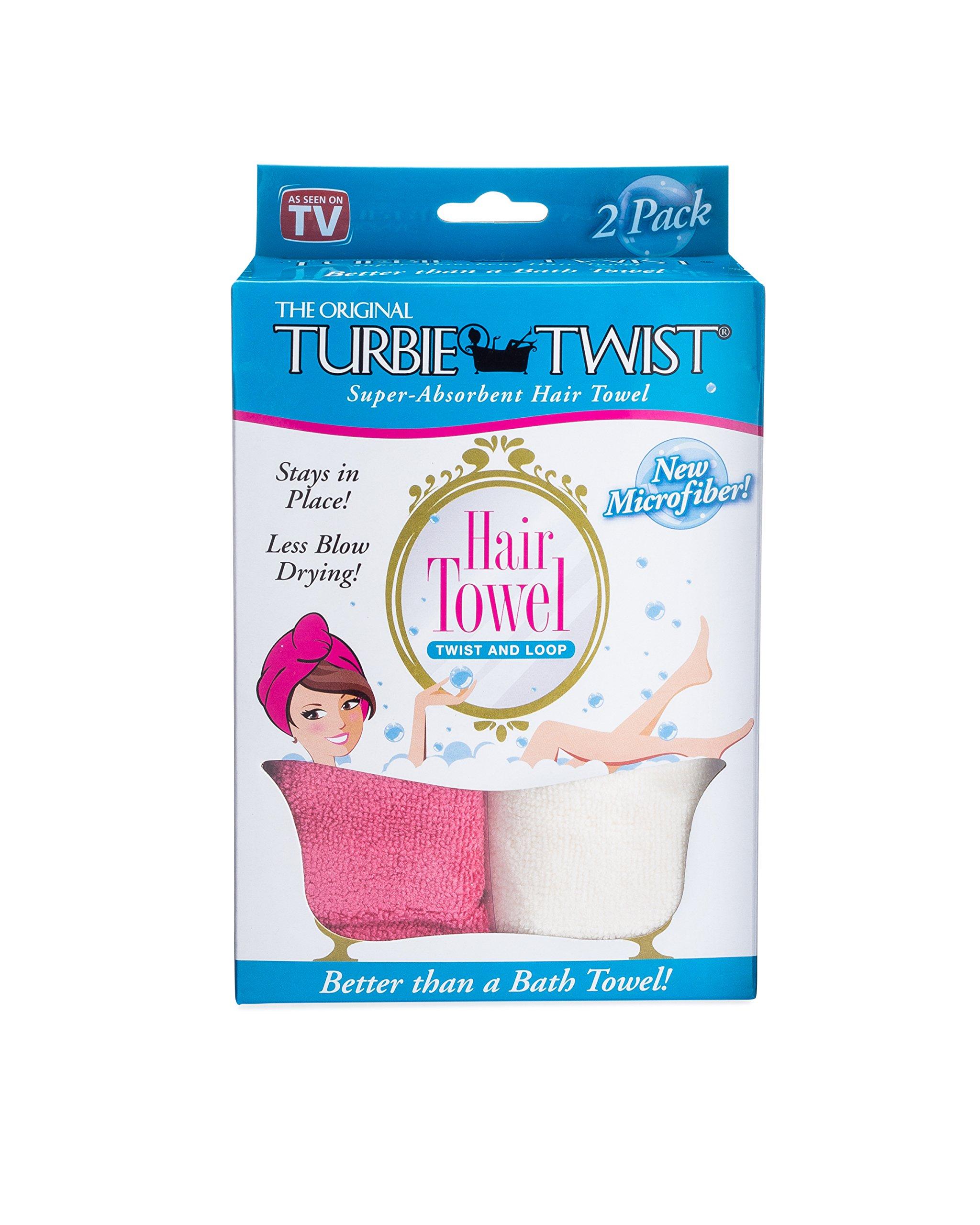 Turbie Twist Microfiber Hair Towel (2 Pack)Hot Pink-Cream