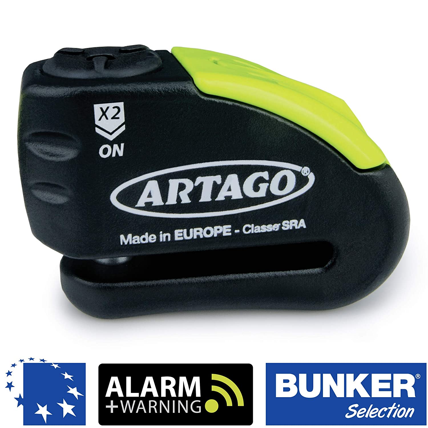 Artago 30X14 Candado Antirrobo Disco con Alarma + Warning 120 dB Alta Gama, ø14 Doble Cierre, Homologado Sra y Sold Secure Gold, Bunker Selection, mm