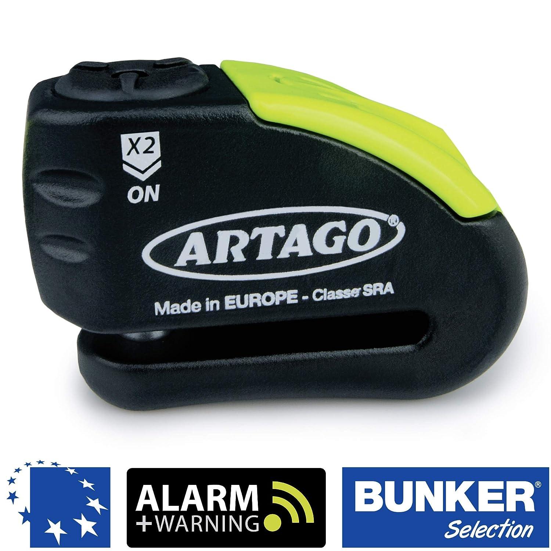 Artago 30X14 Candado Antirrobo Disco con Alarma + Warning 120 dB Alta Gama, ø14 Doble Cierre, Homologado Sra y Sold Secure Gold, Bunker Selection: ...