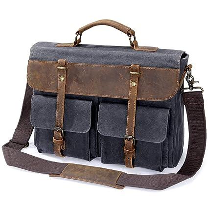 35e73e7390 Lifewit Sac Bandoulière Sac Messager pour Ordinateur Portable Homme Sac à  Épaule Serviette Vintage en Toile avec Cuir (style4 15.6pouces): Amazon.fr:  ...
