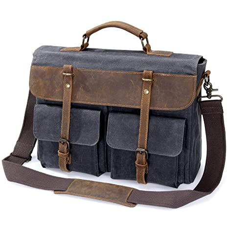 d4fff12795d6 Lifewit 15.6 Inch Mens Messenger Bag Waterproof Waxed Canvas Leather Work Laptop  Briefcase Computer Satchel Shoulder School Handbags  Amazon.ca  Luggage    ...