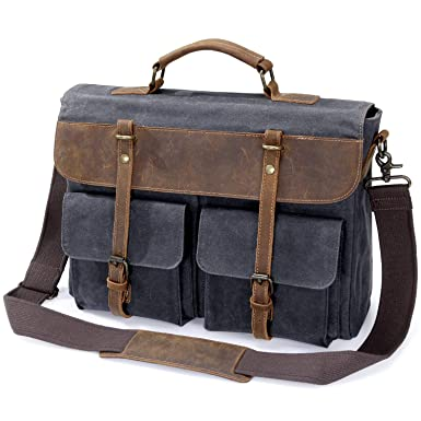 13e6953a0 Image Unavailable. Image not available for. Color: Lifewit Mens Laptop  Messenger Bag 15.6 Inch Waterproof Waxed Canvas Leather ...