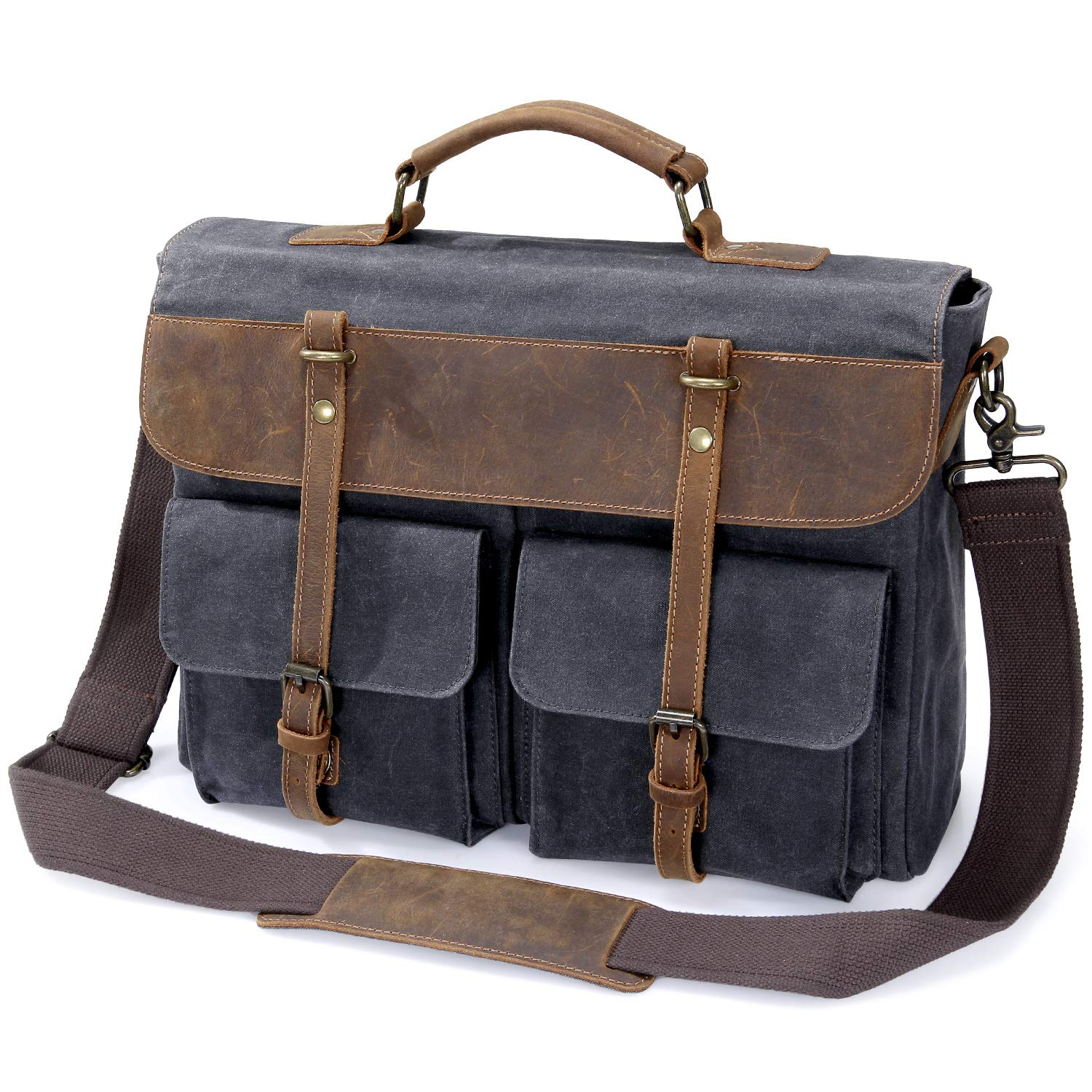 Lifewit 15.6 Inch Water-Proof Leather Satchel Laptop Messenger Bag Vintage  Waxed Canvas Cross- 685b4becee8d5