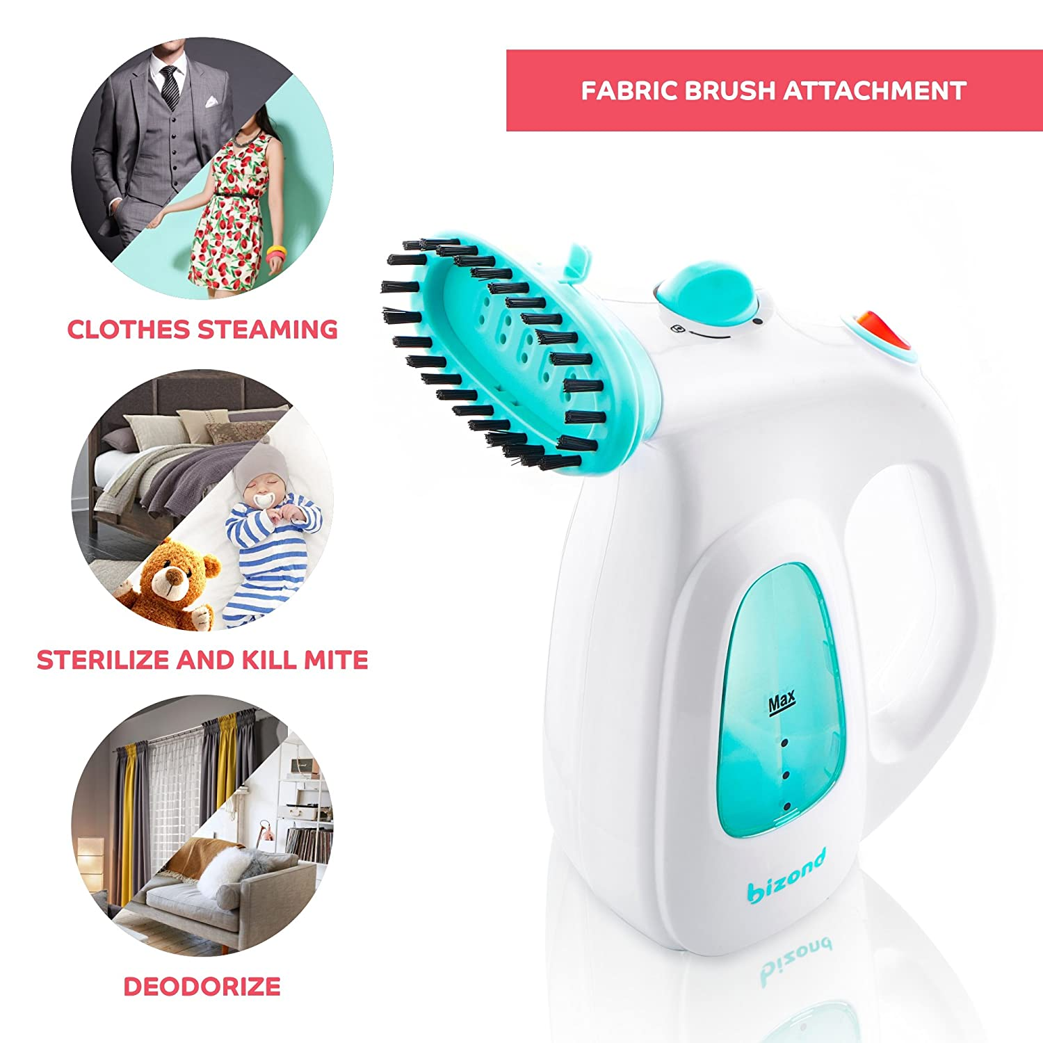 Safe and Little Handy Curtain with Accessories Black Handheld Steamer for Garment and Fabric Steamer for Clothes Travel and Home Portable Anti-Spill Compact Mini Steamer for Shirt