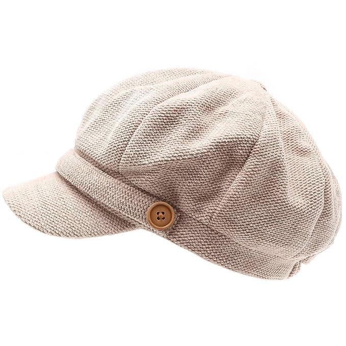 2b33442f03b53c MIRMARU Women's Classic Visor Baker boy Cap Newsboy Cabbie Winter Cozy Hat  with Comfort Elastic Back