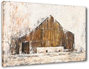 Yihui Art Farmhouse Rustic Wall Decor Barn Canvas Wall Art Painting Pictures For Living Room (Multi A, 20Wx28L)