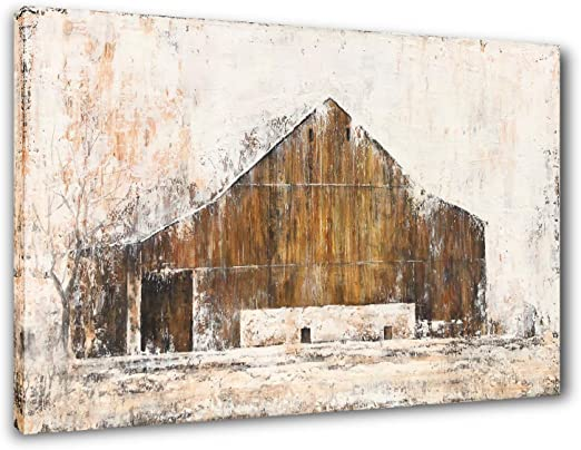 Amazon Com Yihui Art Rustic Wall Decor Barn Canvas Wall Art Hand Painted Farmhouse Painting Pictures For Living Room Multi A 20wx28l Everything Else
