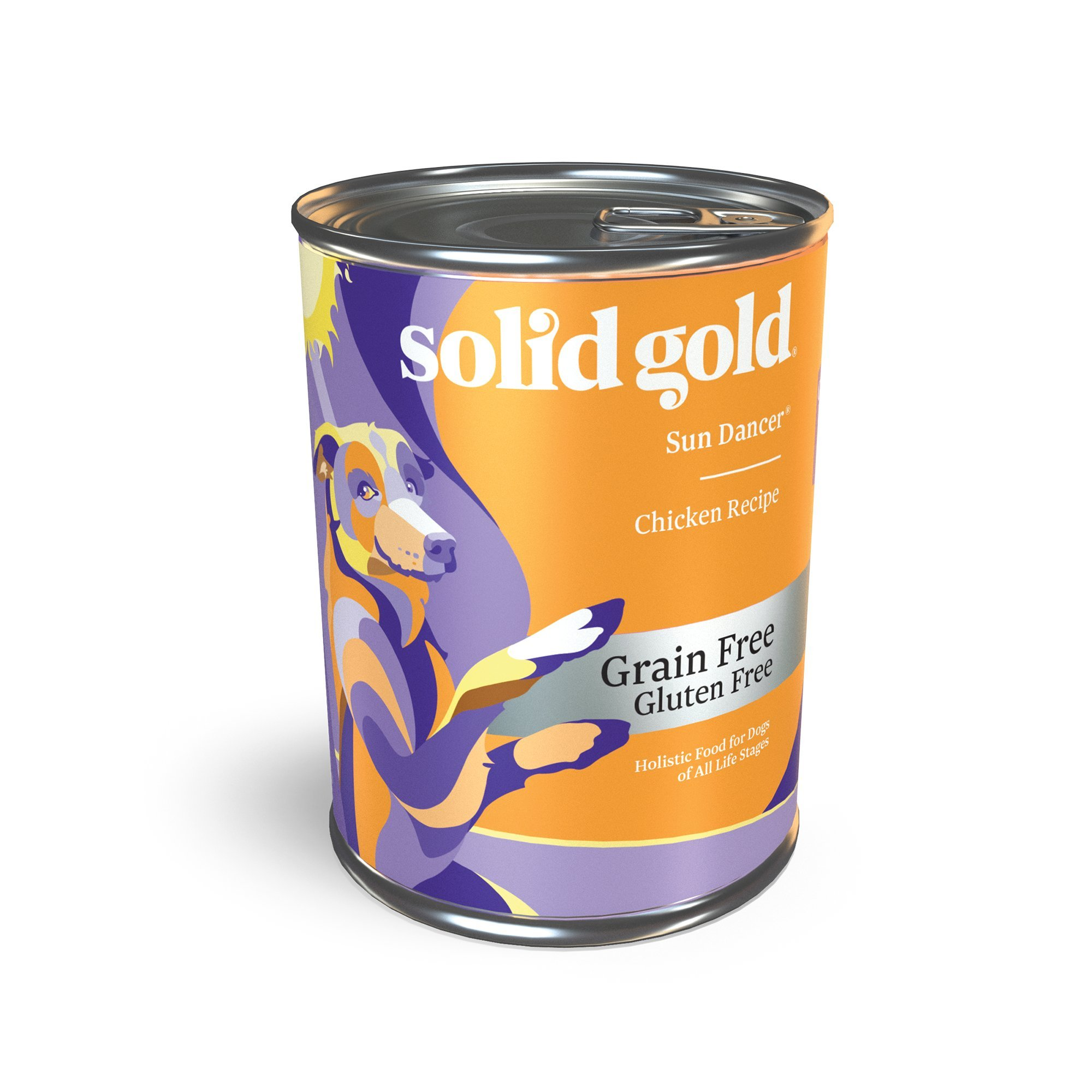 Solid Gold Grain Free Wet Dog Food; Sun Dancer High Protein with Real Chicken & Tapioca, 12ct/13.2oz can
