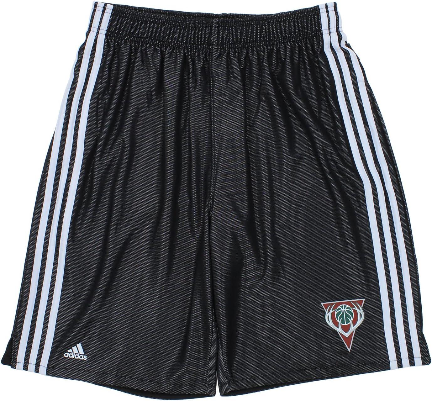 adidas Milwaukee Bucks NBA Big & Tall Mens 3-Stripes Fusion Shorts, Black