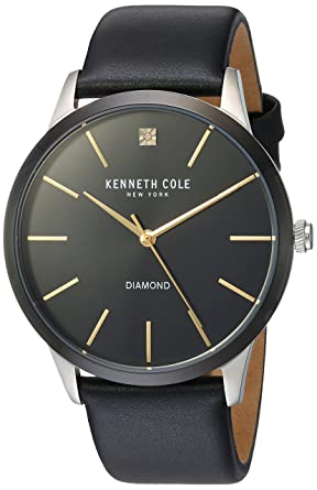 04faa24bcd6 Amazon.com  Kenneth Cole New York Men s Diamond Stainless Steel Quartz Watch  with Leather Strap