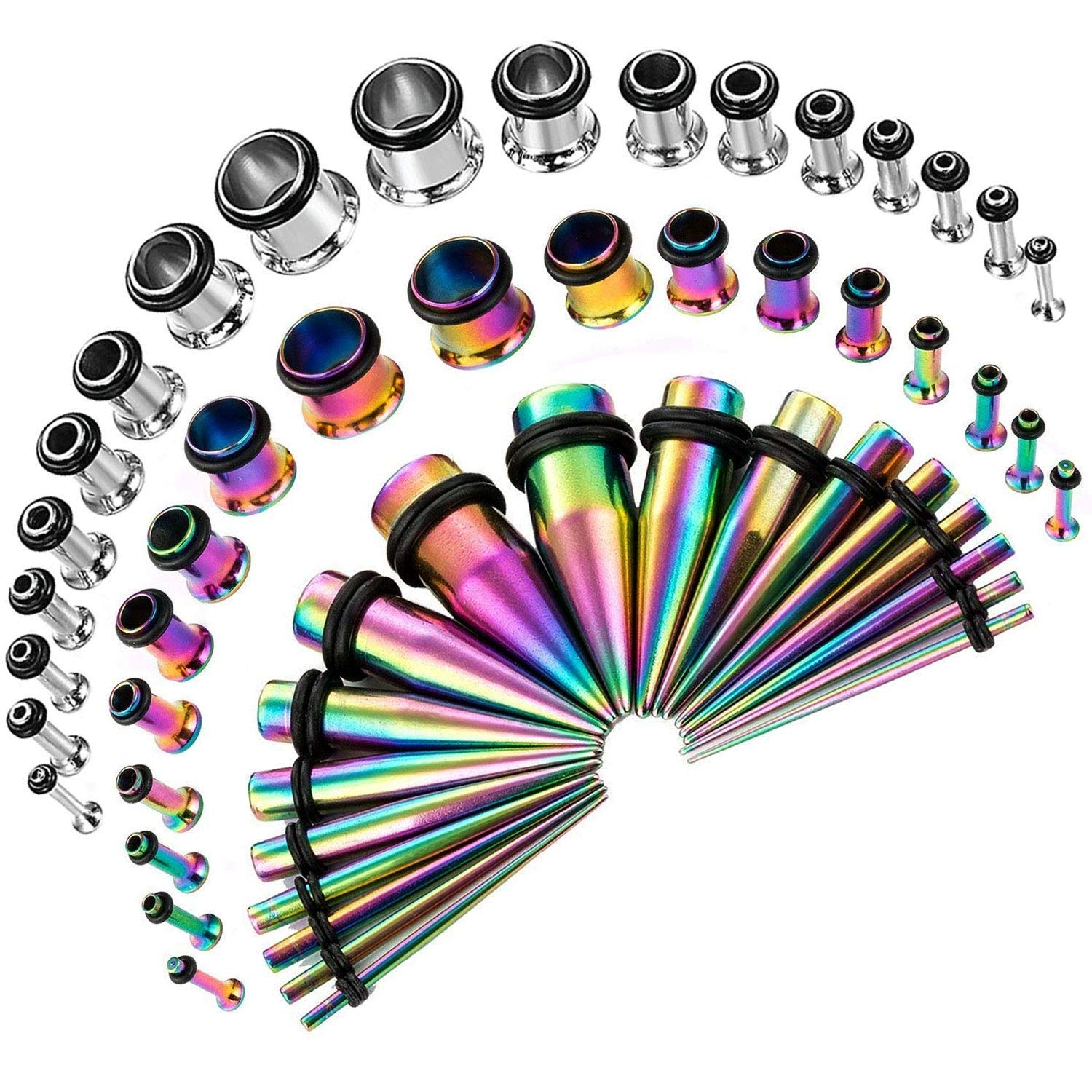 CABBE KALLO 54PCS Ear Gauge Stretching Kit Stainless Steel Tapers and Plugs Set Eyelet 14G-00G (Rainbow)