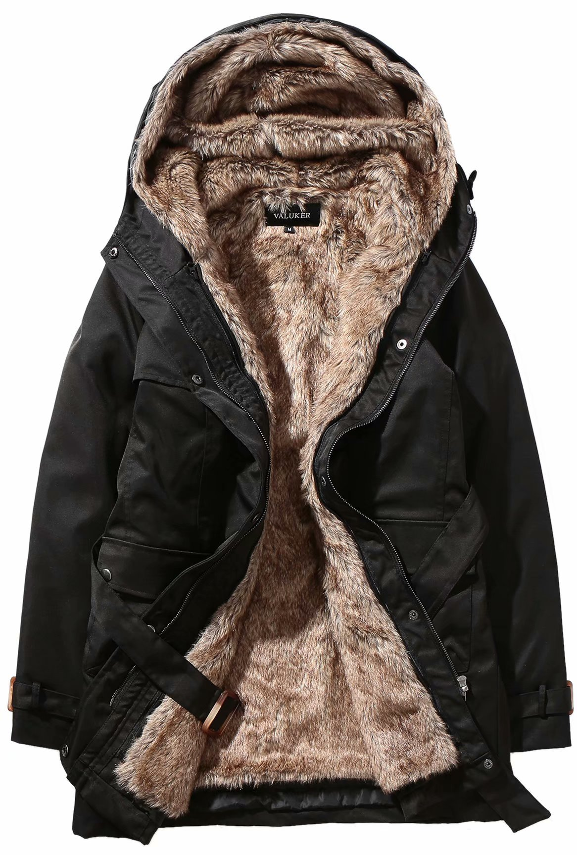 Valuker Women's3 Season Trench Coat with Detachable Fur Lined Hooded Parka 405-Black-XL by Beinia