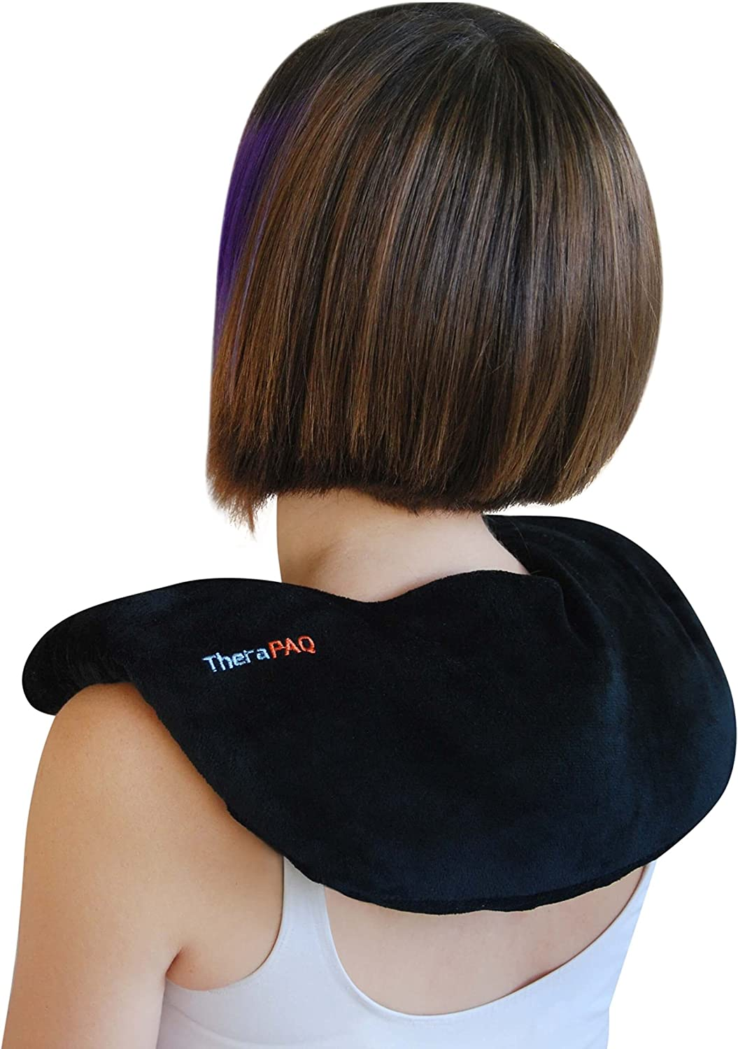 Neck and Shoulder Pain Relief Heating Pad by TheraPAQ Microwave Heated Wrap Black Best for Natural Moist Heat Therapy or as Cold Pack Non-Scented Reusable