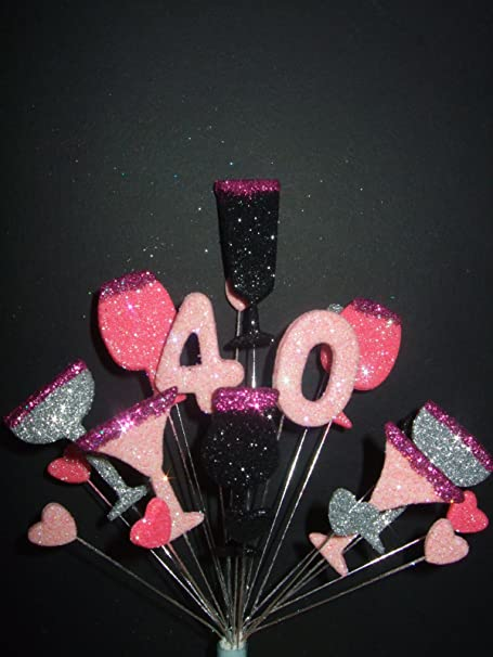 COCKTAILS 40TH BIRTHDAY CAKE TOPPER PINKS BLACK SILVER Amazon