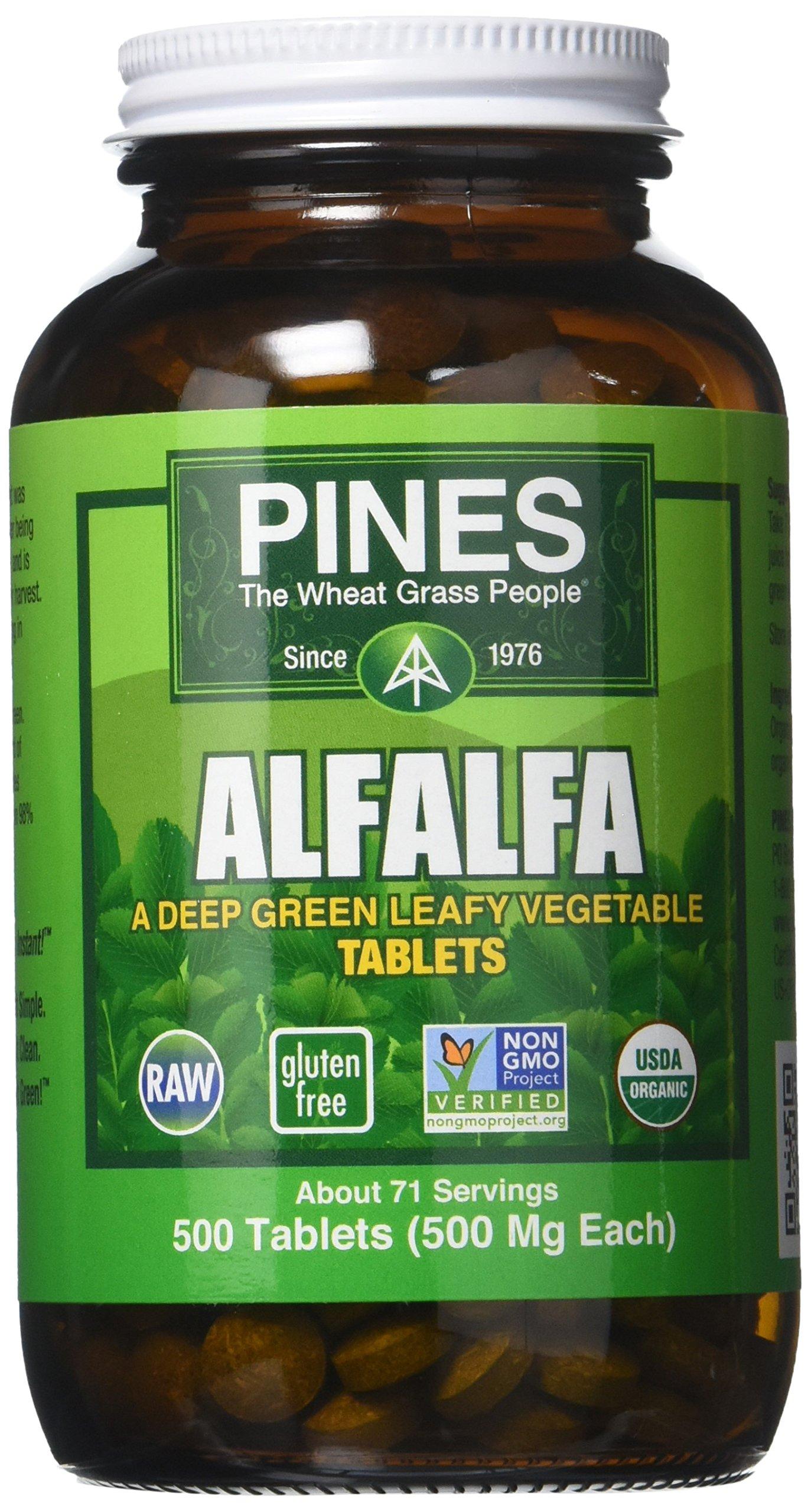 Pines Organic Alfalfa Tablets - 500 per pack - 1 each.