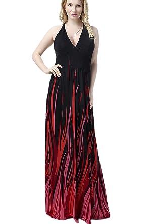 Yacun Womens Flame Sexy Halter Maxi Dress Evening Gown Dresses Plus Size Black XL