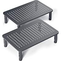 Evoomi Computer Monitor Stand Laptop Stand for Desk [2 Pack] – Sturdy Black Steel Adjustable Monitor Riser Stand for…